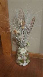 Decorative Glass Jar and Floral Arrangement