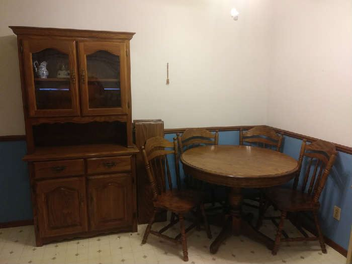 Dining Room Wood Table & 4 Chairs, DR Cabinet