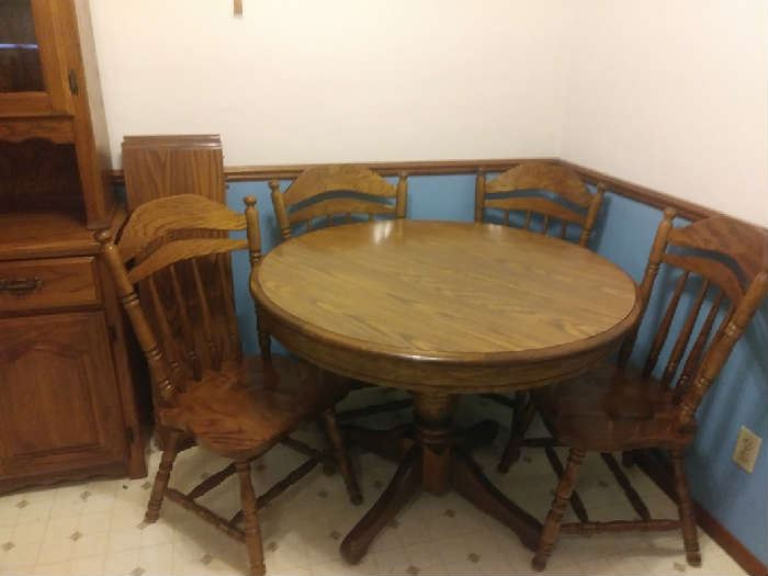 Dining Room Wood Table & 4 Chairs
