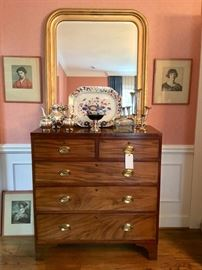 Mahogany chest and Louis Phillipe style mirror, Imari platter, sterling silver teaser, silver plate epergne