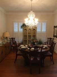 Dining Room Table with leaves , 8 Chairs, Crystal Chandelier , Sideboard, China Cabinet, Fine China,Lamps,Crystal.