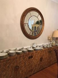 Sideboard. Fine China Service for 8.Large Mirror.