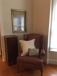 Jewelry Chest, Wing Side Chair,Pillows, Framed Print.
