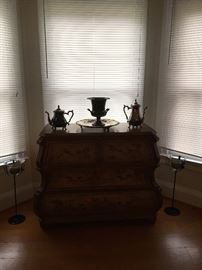 Asian Dresser, Silver , Candlesticks.