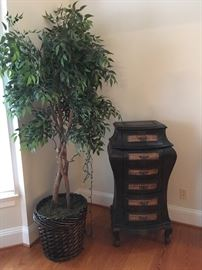 Asian Chest, Large Tree in Basket.