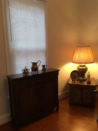 Cabinet, Silver, End Table (1 of Pair) Lamp.