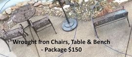 Wrought Iron Table Chairs and Bench