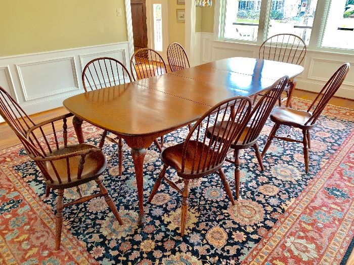 """Queen Anne dining table (with leaves) and chairs handcrafted by Windsor Chairmakers.  6 Windsor chairs, 2 Windsor armchairs.  Stamped """"Jay Brown"""".  Karastan Williamsburg Series Rug"""