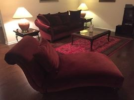 Elegant beet color sofa and chaise; can be sold separately
