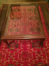 Ethan Ellen glass top coffee table; Indian (Jaipur) Wool Rug