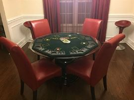 Glass Top Round Dining Room Table with 4 Red Chairs