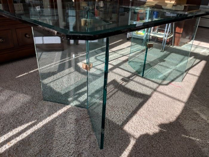 $100  PACE glass table  (as is, a few chips)