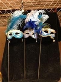 Set of three Women's Professionally Custom Made Masquerade Masks on Handles.