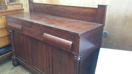 primitive mahogany sideboard