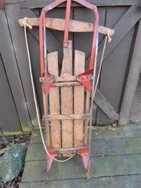 Vintage wooden sleds x 2.