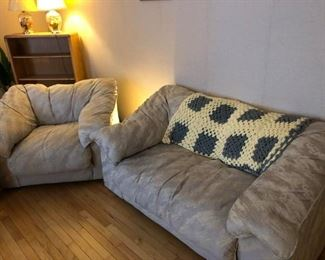 Love Seat and Chair: Soft cushion, light gray