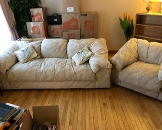 Sofa and Chair: Full soft cushion, light gray.