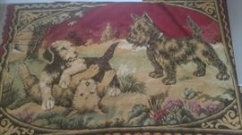 Vintage scottish terrier dogs tapestry