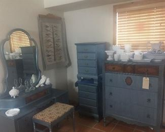Beautiful 5 piece antique bedroom set.  Also pictured milk glass and vintage water pitcher