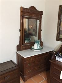 Marble top dresser and vintage water pitcher sold separately