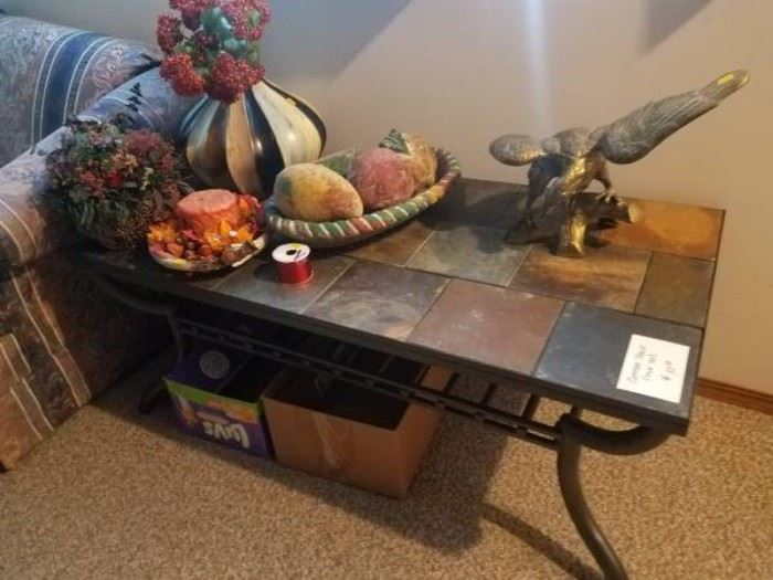 Antique table with plastic fruit