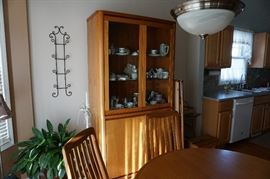 Teak China Cabinet, lighted 2 piece