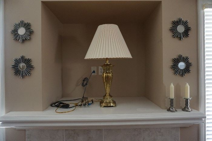 pewter candle sticks, 4 of 5 mirror star bursts, Steiffel lamp