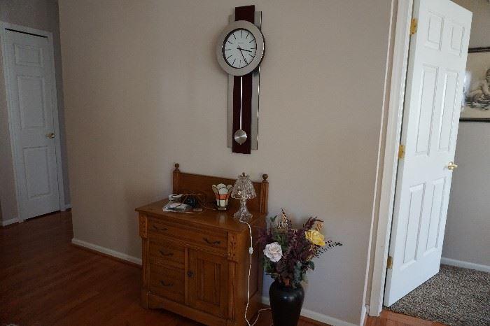 wash stand oak, Howard Miller clock 60's modern, vase w/ flowers
