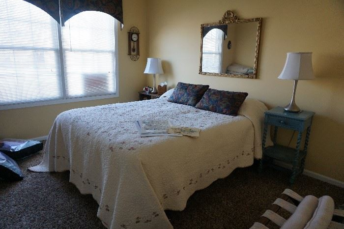 Bedspread Queen, End table, pair of 3 way lamps, Mirror,