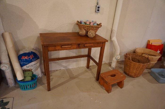 child's oak desk, stool baskets
