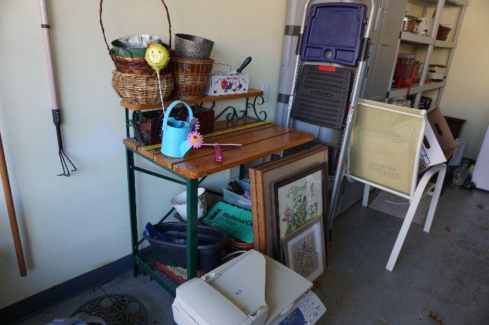 garden worktable, chair, fax machine