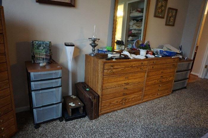 scale, leather briefcase, dresser/ w mirror