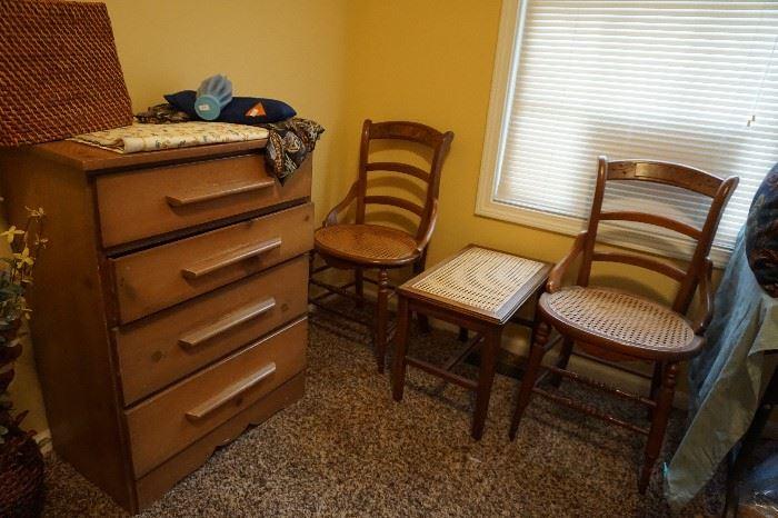 2 matching chairs, piano bench, dresser