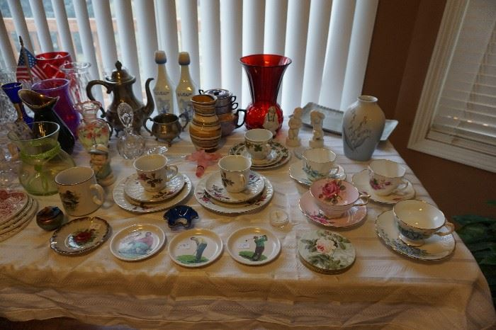 English cups and saucers, vases, bing and Grondahl items