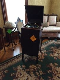 Victrola with records
