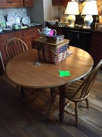 Oak Kitchen table and two chairs