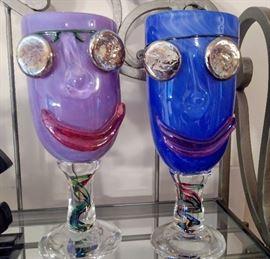Arthur Allison Hand Blown Art Glass Face Goblets