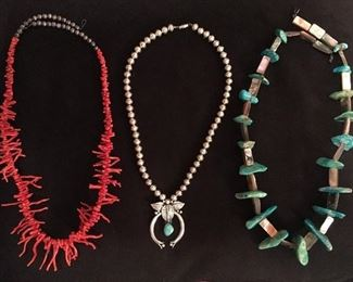 Native American turquois & Croal necklaces