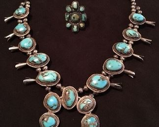 Native American squash blossom necklace & cluster ring