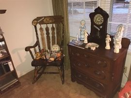 Victorian washstand, antique clock, German figurines