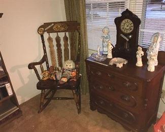 Victorian washstand, antique clock, German figurines