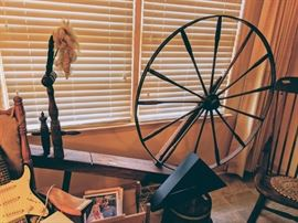 Large original spinning wheel. This is in house on hill no.65 Blackmon Drive.