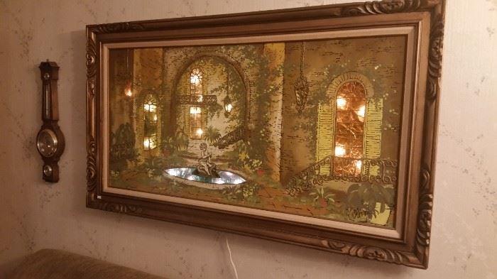 Mid century lighted Italian painting, signed Oliveri.