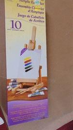 Easel set w oil paints