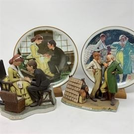 Norman Rockwell 2 Decorative Plates with 2 coordinating Figurines https://ctbids.com/#!/description/share/103109
