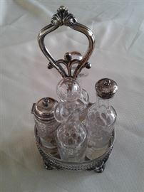 Victorian silver plate cruet set