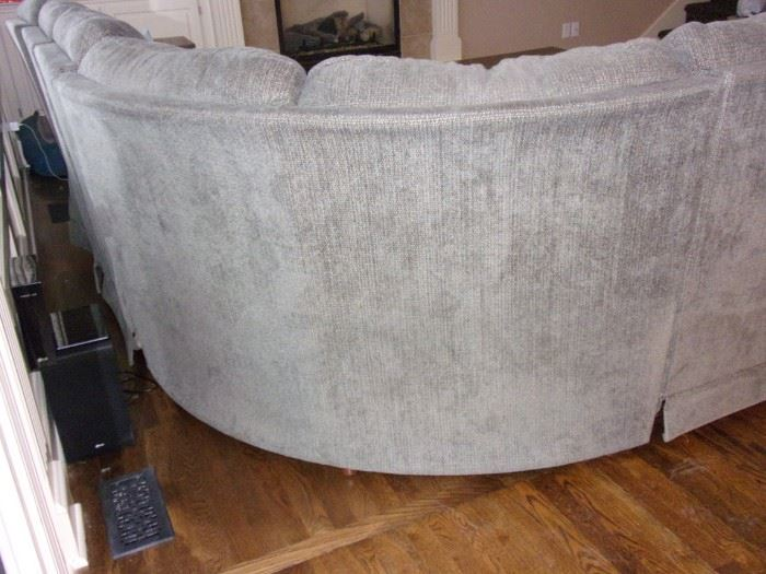 La-Z-Boy light gray sofa with recliner on each end.