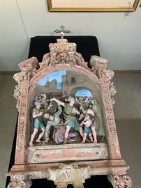 Italian Painted Terracotta Relief Niche of the 'Fifth Station of The Cross' 19th-20t century