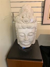 Chinese Marble Head of Bodhisattva 20th Century, Height: 24 in