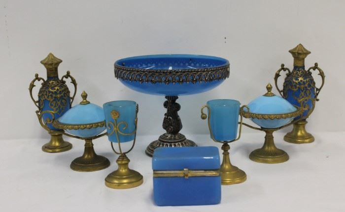 A Grouping of Bronze and Silver Mounted Opaline